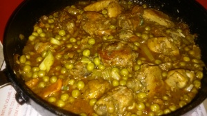 BRAISED CHICKEN THIGHS AND SWEET GREEN PEAS
